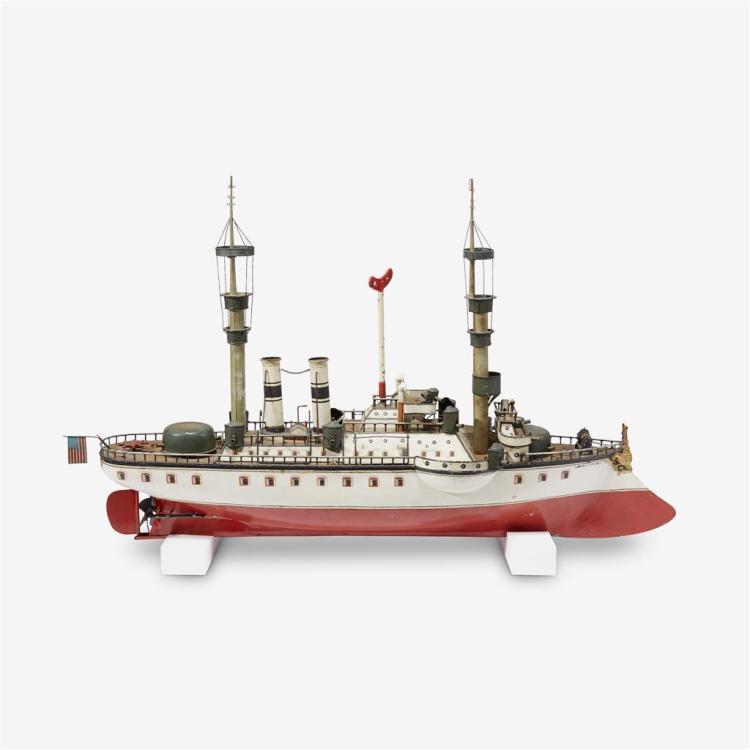 A Märklin First Series tin clockwork model of the battleship USS New York, Germany, early 20th century