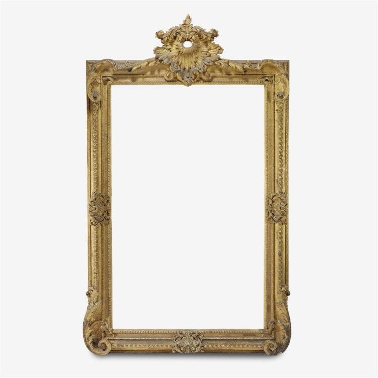 A monumental Napoleon III carved gesso and giltwood frame, Third quarter 19th century