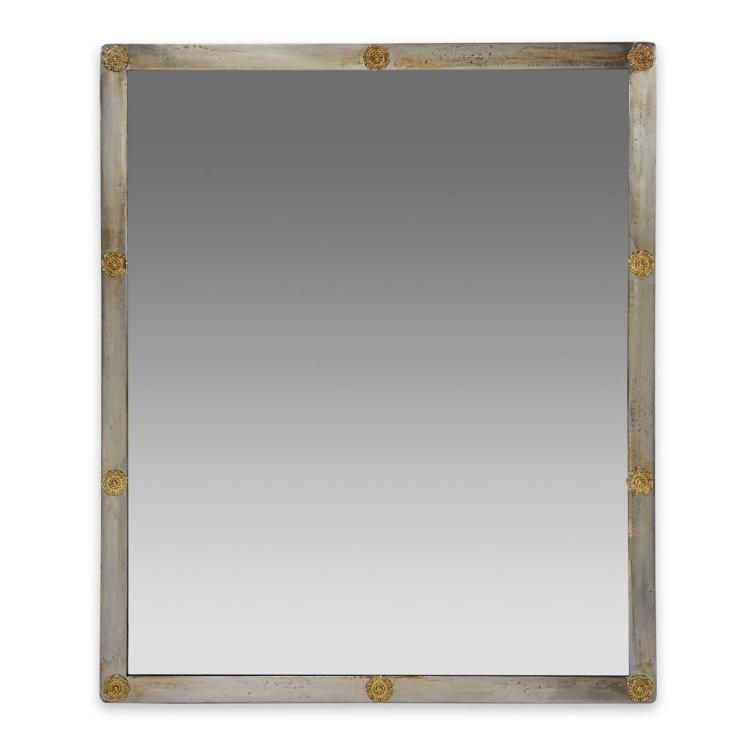 A Neoclassical Style Brass-mounted Steel Mirror, 20th century