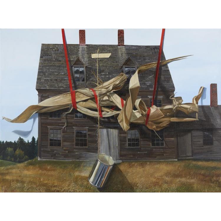 W. M. WILSON, (20TH CENTURY), UNTITLED (HOUSE UNDER CONSTRUCTION)
