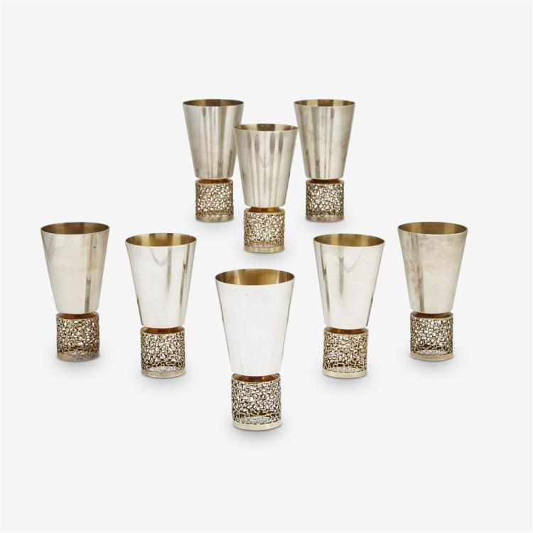 Eight Elizabeth II silver and silver-gilt large beakers, Stuart Devlin, London, 1968-69