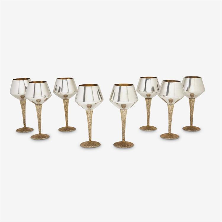 Eight Elizabeth II silver and silver-gilt wine glasses, Stuart Devlin, London, 1968-69