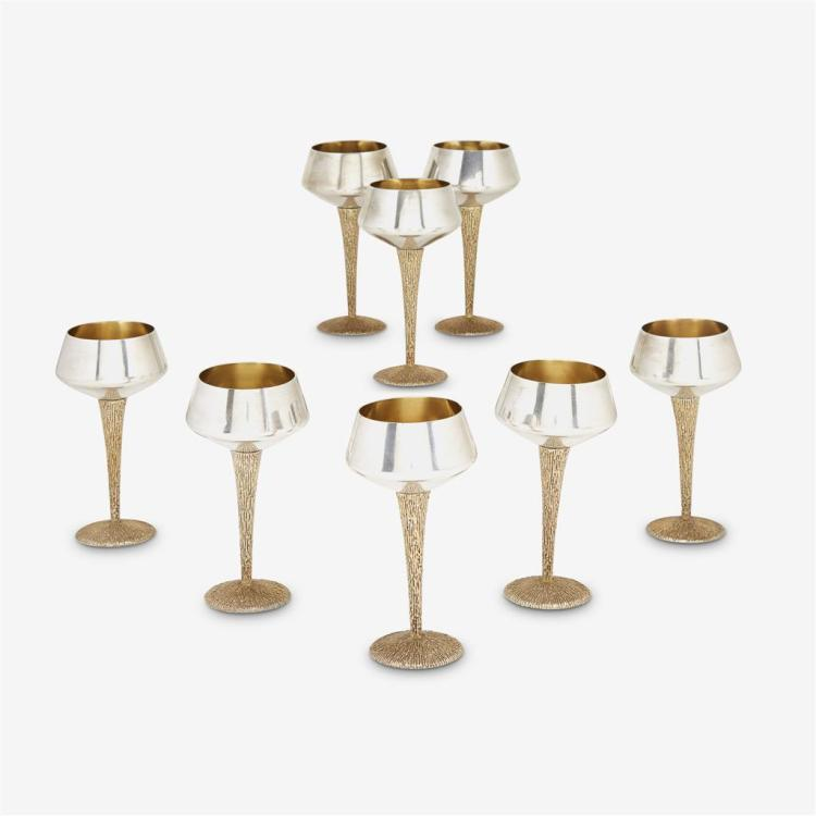 Eight Elizabeth II silver and silver-gilt cocktail glasses, Stuart Devlin, London, 1968-69
