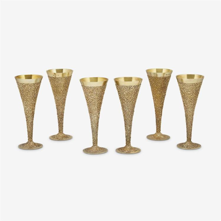 Six medium Elizabeth II silver-gilt champagne flutes, Stuart Devlin, London, 1968-69