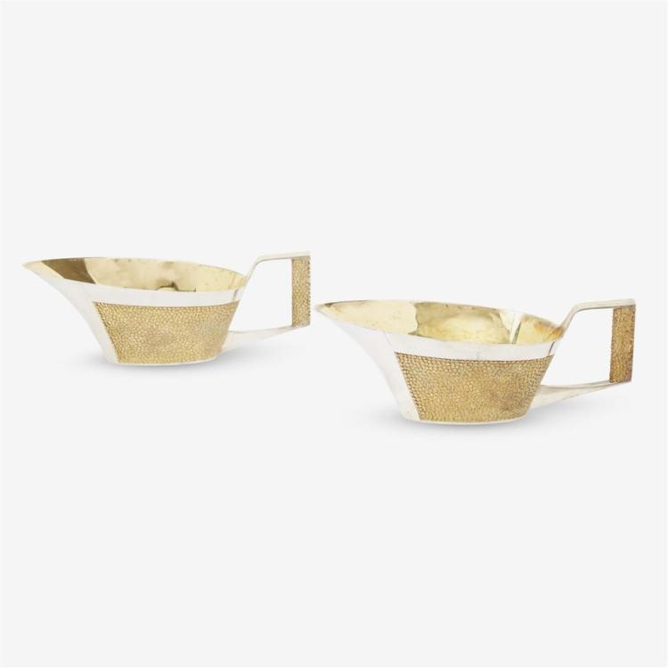 Two Elizabeth II silver and silver-gilt pebbled sauce boats, Stuart Devlin, London, 1968-69