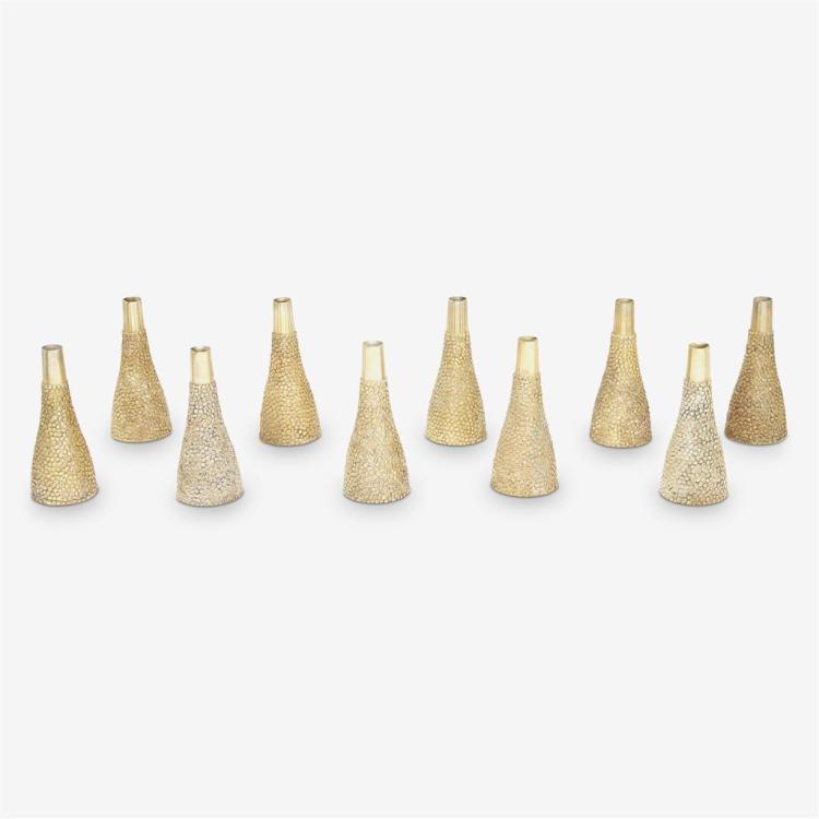 Ten Elizabeth II silver-gilt salt and pepper casters, Stuart Devlin, London, 1968-69