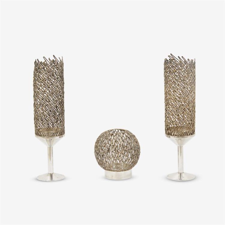 Three Elizabeth II silver candle holders, Stuart Devlin, London, 1968-69