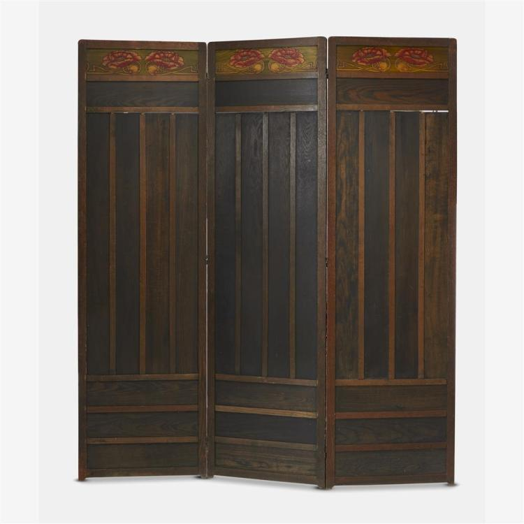 An Arts & Crafts polychrome floral-decorated oak three-panel floor screen, Circa 1900