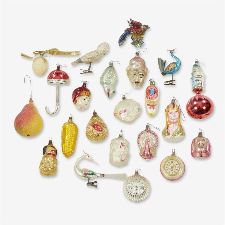 A large collection of glass figural, fruit, and flower ornaments, Late 19th century to first half 20th century