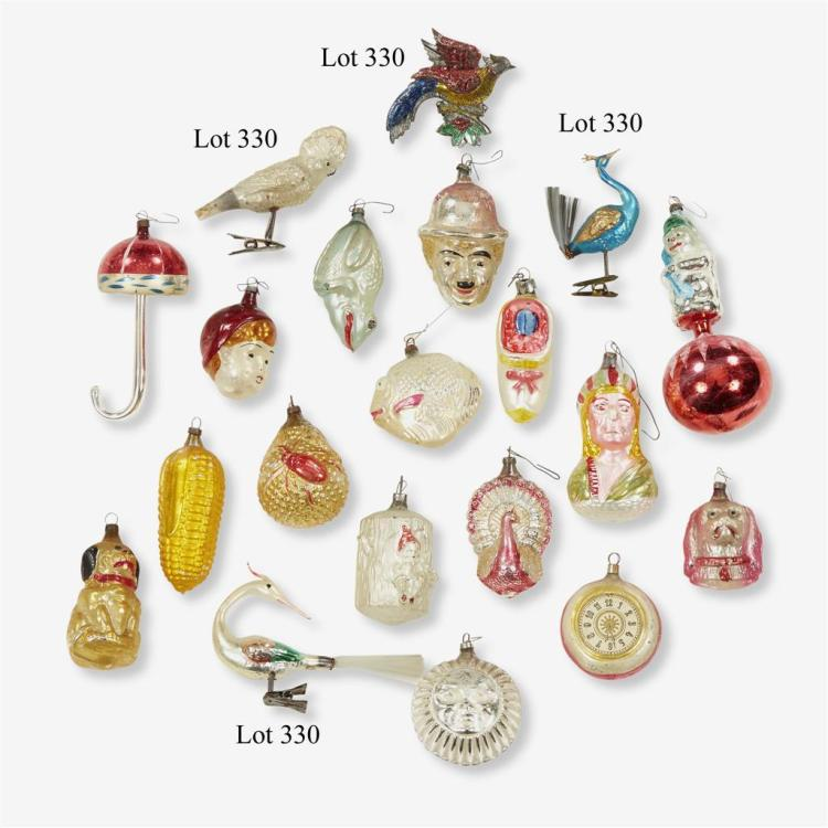 A collection of fifteen glass ornaments with clip-on bases, Primarily Continental, early 20th century