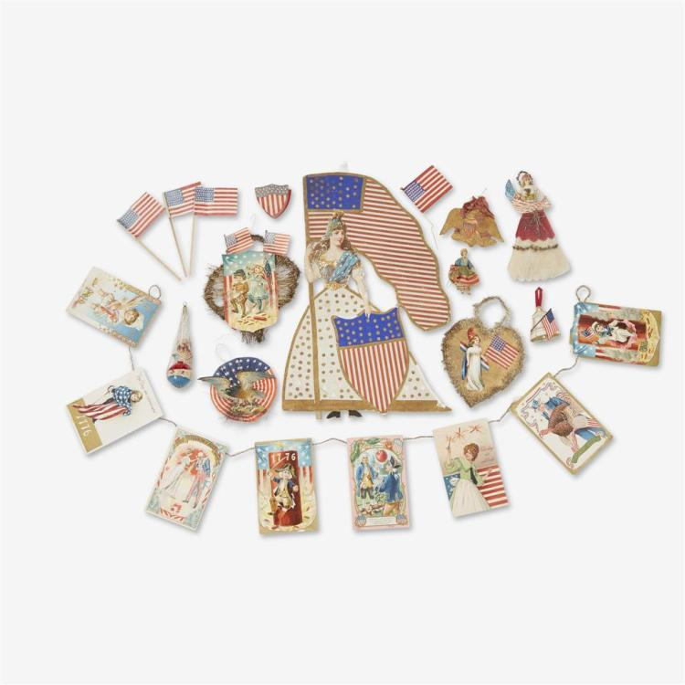 A large group of patriotic Christmas ornaments and ephemera, Late 19th through 20th century