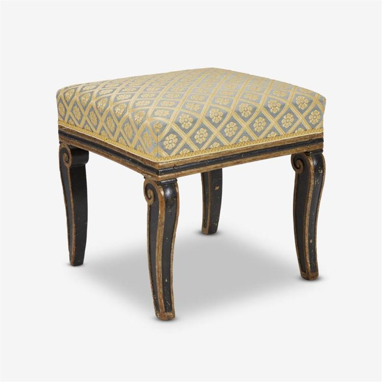 A Second Empire parcel gilt and ebonized stool, 19th century
