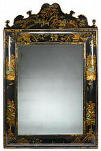 Associated pair of German polychrome, parcel gilt and black lacquered Chinoiserie decorated mirrors, circa 1725, The shaped crest above