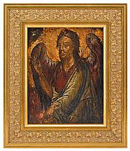 Italian polychrome and gilt painted icon of St John the Evangelist, 18th century, Within a later custom frame.