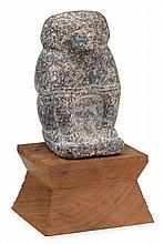 Egyptian granite figure of Babi or Baba, probably new kingdom, 1550-1069 b.c., On custom wood base.