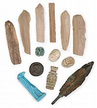 Collection of six prehistoric flints, paleolithic period, 5,000-10,000 b.c. and later, Together with three Egyptian faience charms, two