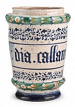 Italian majolica albarello, early 16th century, Cylindrical form, painted in cobalt blue