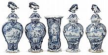 Dutch Delft blue and white five-piece garniture, 18th century, Including three baluster vases with covers surmounted by bird finials an