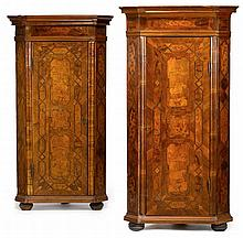 Pair of South German walnut, marquetry and parquetry corner cupboards, mid 18th century, Each with architectural cornice above marquetr