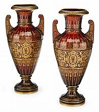 Pair of Austrian J. & L. Lobmeyr Alhambra style gilt and 'jewel' painted glass vases, vienna, circa 1900, Faceted urn form with twin ha