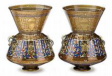 Fine pair of French Mamluk style gilt and enameled glass mosque lamps, in the style of brocard, 19th/20th century, The compressed ovoid