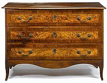 Italian walnut and olivewood chest of drawers, late 18th century, The rectangular top with thumbnail edge over three long drawers, rais