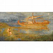 """CHARLES WILLIAM WYLLIE, (BRITISH 1853-1923), """"WHERE THE ECHOING OARS OR ARGE FIRST STARTLED AN UNKNOWN SEA"""""""