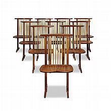 GEORGE NAKASHIMA (AMERICAN, 1905-1990), SET OF TEN CONOID DINING CHAIRS, NEW HOPE, PENNSYLVANIA, 1982
