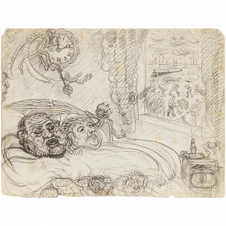 DOUBLE-SIDED DRAWING JAMES ENSOR, (BELGIAN, 1860-1949),