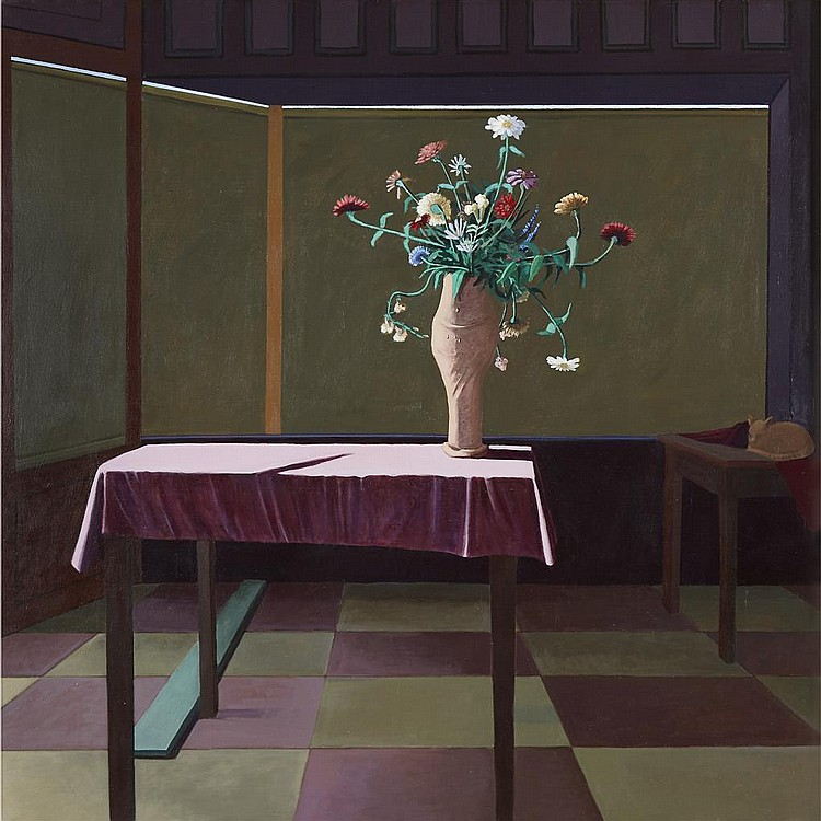 JIMMY LUEDERS, (AMERICAN, 1927-1994), ZINIAS ON A PINK TABLE CLOTH