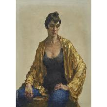 DAVID WU JECT-KEY (1890-1968), , LADY IN YELLOW AND BLUE