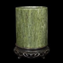 A Chinese spinach jade cylindrical brush pot,