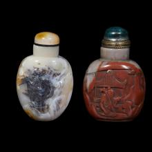 Two Chinese carved hardstone snuff bottles,