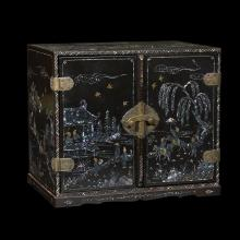 A Japanese mother of pearl inlaid black lacquer small cabinet, kodansu, late 19th/20th century