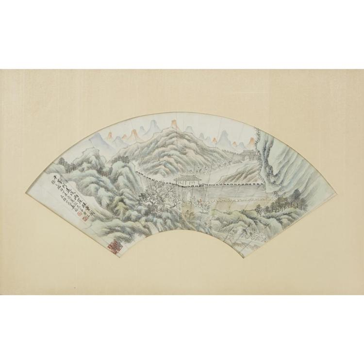 JIANG JUN (1847-1919), , THREE LANDSCAPES, FAN LEAF PAINTINGS