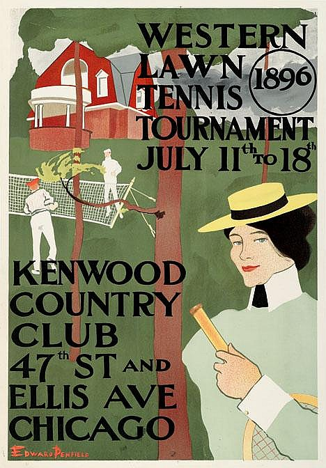 1 piece. Color Lithographic Poster. Penfield, Edward. Western Lawn Tennis Tournament. 1896. 28 x 19 1/4 inches; 711 x 489...