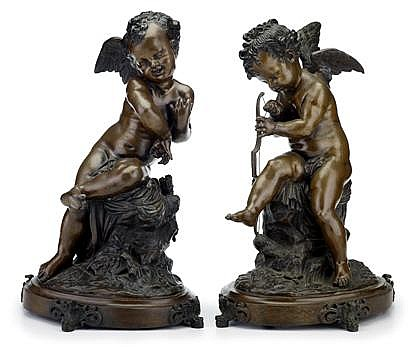 After Charles Gabriel Sauvage Lemire (French, 1741-1827), cupid preparing arms, Pair of bronzes, medium brown patina, each on an oval b
