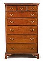 Chippendale walnut tall chest of drawers, pennsylvania, early 19th century, The corniced rectangular top above conforming case with thr