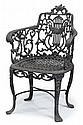 Painted cast iron armchair, robert wood foundry, philadelphia, pa, early 19th century, Arched crestrail above wreathed, pierced lyrifor