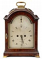 Federal mahogany bracket clock, john crowley (active 1803-1823), philadelphia, pa, circa 1805, Brass bail to arched top with molded edg