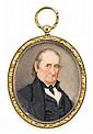 American School 19th century, miniature portrait of a philadelphia gentleman, Watercolor on ivory, gilt locket case.