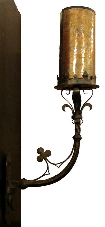 Wrought iron wall sconce with mica shade, samuel yellin (188