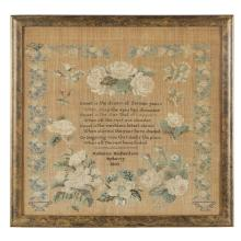 Needlework sampler and four Richardson/Yarnall Family silhouettes, Rebecca Richardson (1821-1896), Byberry Friends School, Byberry,...