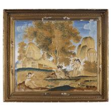 Embroidered picture, Worked by Maria Hargesheimer, painted by Samuel or Godfrey Folwell,