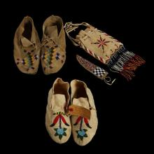 Group of Sioux beaded hide items, Early 20th century