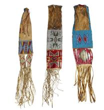 Three Sioux beaded hide and quilled pipebags, Early 20th century