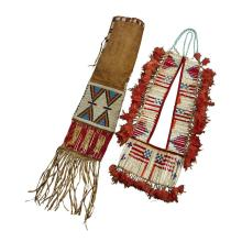 Sioux beaded hide pipe bag and a quilled breastplate, Late 19th/early 20th century