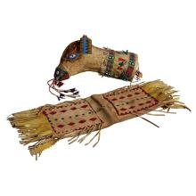 Beaded hide Yankton Sioux figural tobacco pouch, Made by Ed Yellow Bird, Yankton Sioux