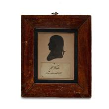 Silhouette portrait and signature of Benjamin West (1738-1820), London, England, circa 1802