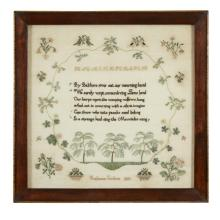 Needlework mourning sampler,